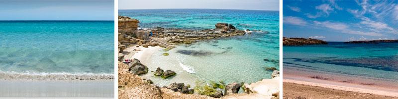En orden: Illetes, Cala d'es Morts, Es Pujols, Formentera. Fotografía: javiergomiz.com