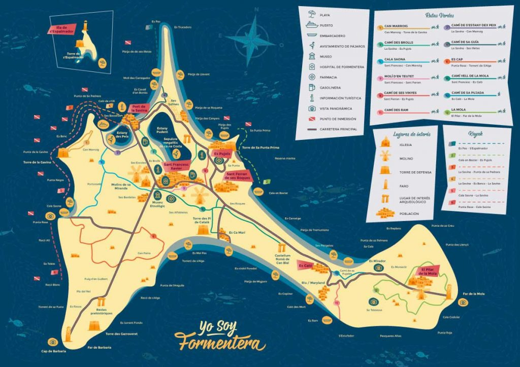 Moverse en Formentera es de lo más sencillo si llevas este mapa contigo