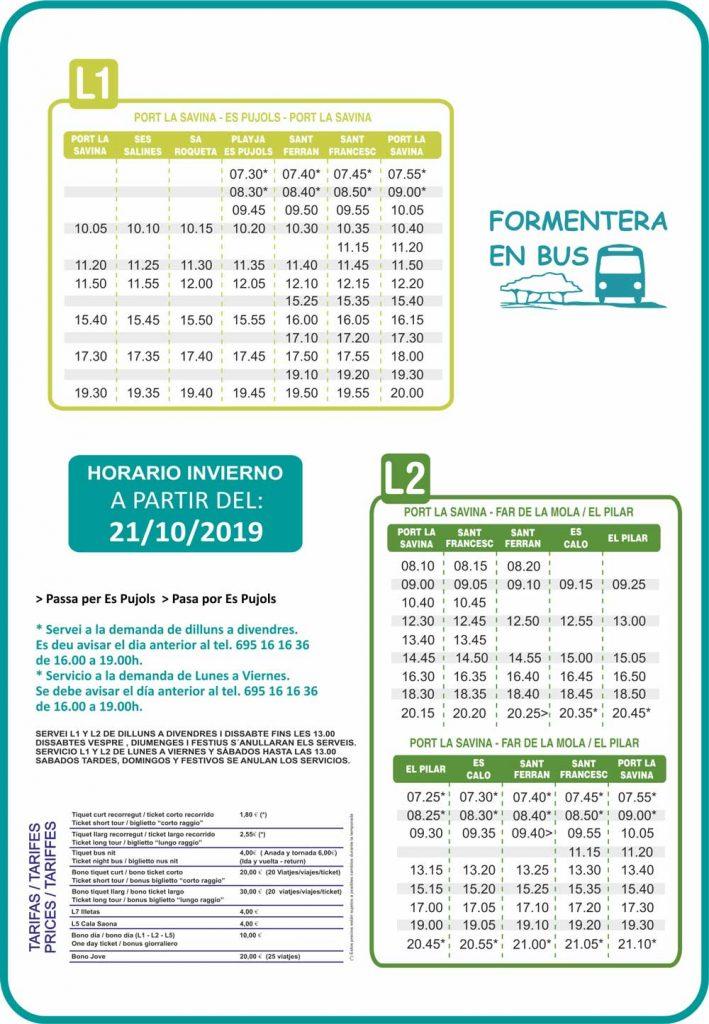 Horario autobuses Paya Invierno